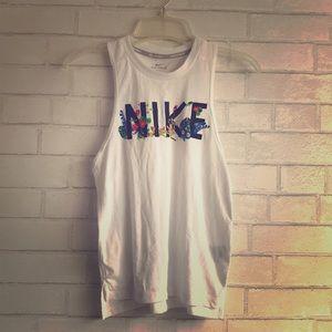 Nike Floral White Logo Tank